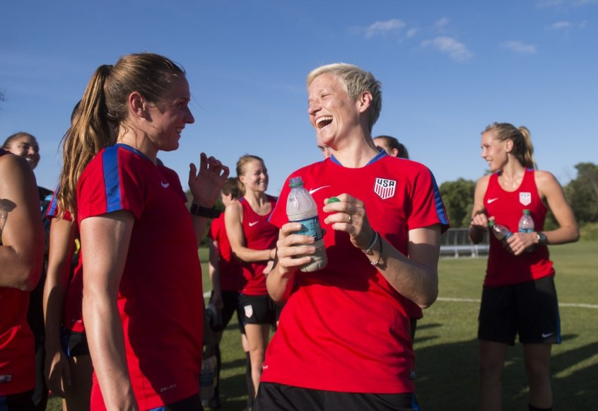 Chicago, IL - July 5, 2016: The USWNT trains in preparation for their international friendly against South Africa at Soldier Field.